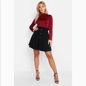 Plus Paper Bag Button Detail Skater Skirt Black